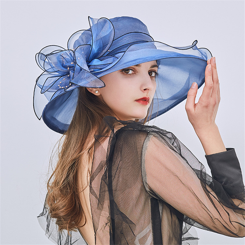 c407039628c3 Women's Church Derby Dress Fascinator Bridal Cap British Tea Party Wedding  Hat Formal Kentucky Derby Hats Wide Brim Sun