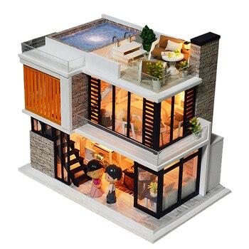 Doll House Diy Miniature Wooden Miniaturas Dollhouse Furniture Swimming Pool Building villa Kits Toys for Child Handmade