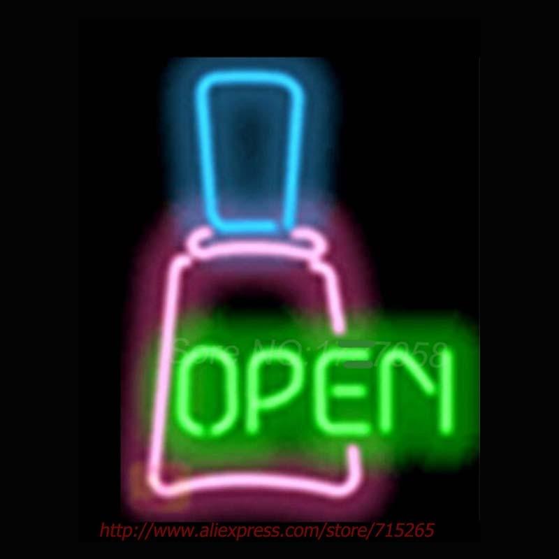 Shop Open Sign Lights: Open Nail Polish Signage Shop Neon Light Sign Neon Bulbs