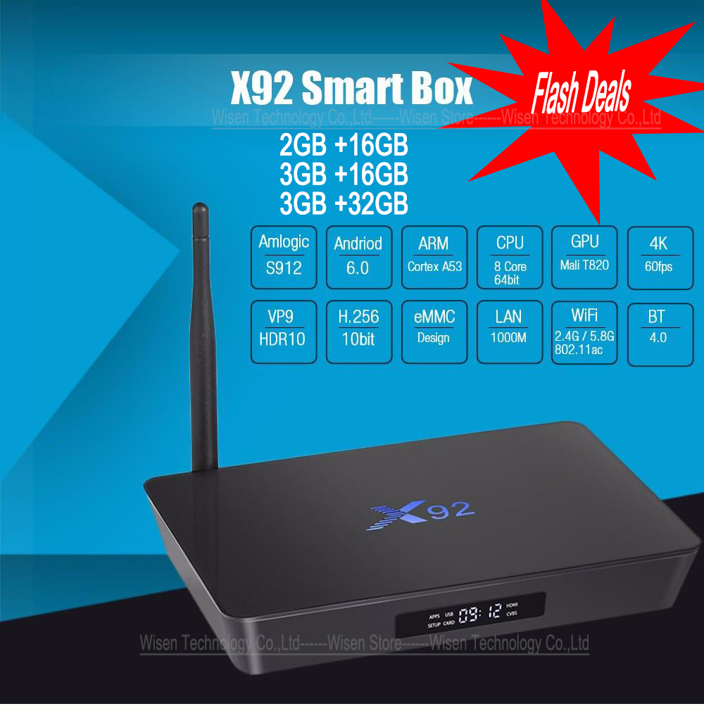 [Genuine] X92 2GB 16GB 3GB 16GB 3GB 32GB Android 6.0 Smart TV Box Amlogic S912 Octa Core CPU 5G Wifi 4K H.265 Set Top Box 2gb 3gb 16gb 32gb x98 pro metal box amlogic s912 android 6 0 tv box octa core fully loaded 4k smart set top box