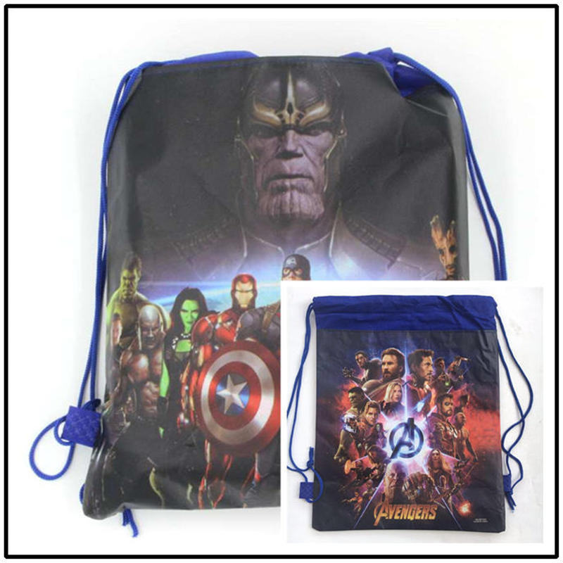 Avengers 1pcs Drawstring Bags High Quality School Portable Backpack Handbag Boy Cotton Travel Pouch Storage Clothes Shoes Bags