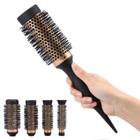 4 In 1 Round Hair Brush Comb Ceramic Ionic Anti static Hair Roller Comb 3 Replaceable Heads Hairdressing Barber Hairbrush Comb