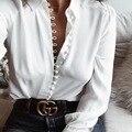 Zewo Moda Primavera Camisas Mulheres Branco Turn Down Botão Manga Longa Blusas Plus Size Ladies Casual Sólidos Tops Blusa Solta