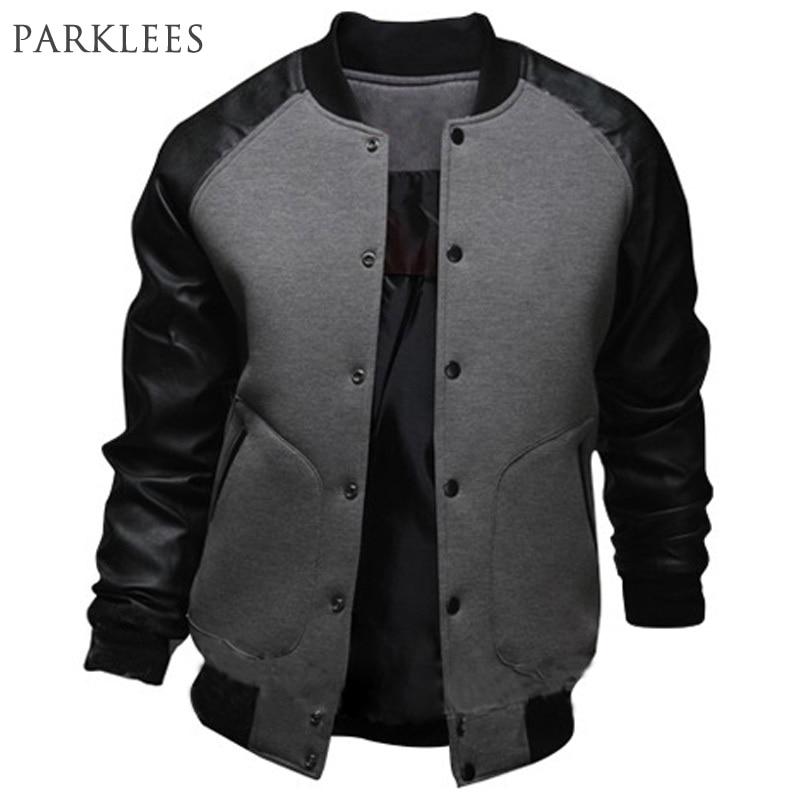 New Gray Baseball Jacket Men 2015 Fashion Design Black Pu Leather Sleeve Mens Slim Fit College Varsity Jacket Brand Veste Homme