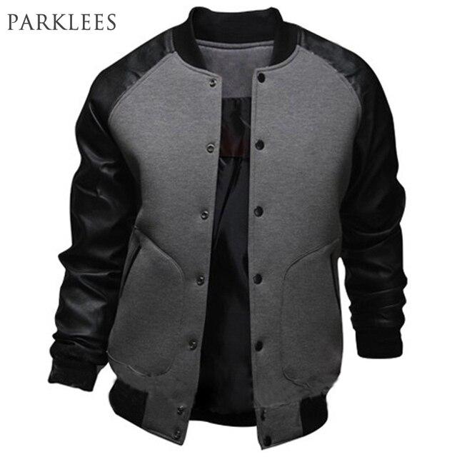 ebb29542e6473 Nueva chaqueta de béisbol gris para hombre 2015 diseño de moda negro Pu  manga de cuero
