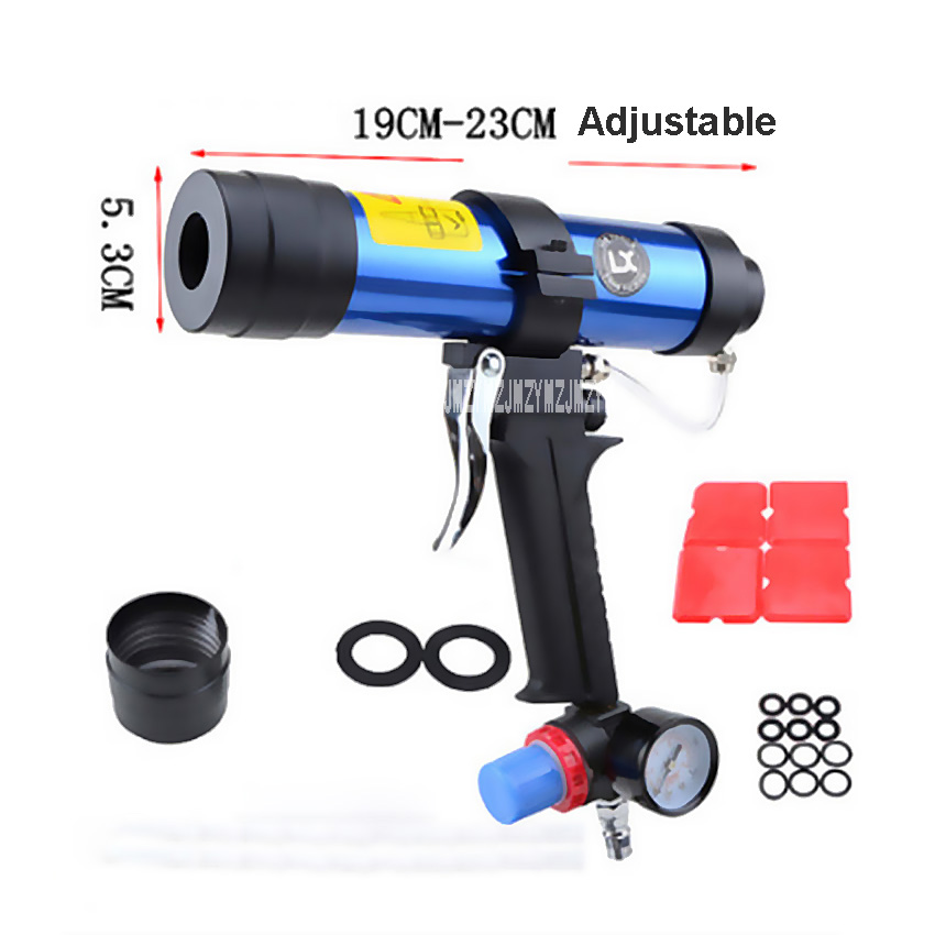 New Arrival Pneumatic Caulking Gun Set 310ML Glass Glue Air Rubber Guns Tool Hard Glue Gun With Watch Valve 19CM-23CM Adjustable