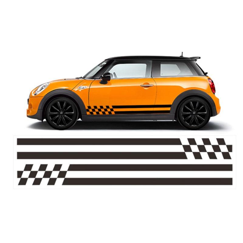 2x автомобиль Стайлинг сторона гоночная юбка в полоску Ограниченная серия наклейки для MINI Cooper R50 R52 R53 R56 R57 R58 R59 F55 F56 F54 - Название цвета: Черный