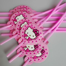 10pcs/lot Cartoon Straw Pattern hellokitty Theme Party Decoration Disposable Tableware Drinking Straws Party Supplies 04