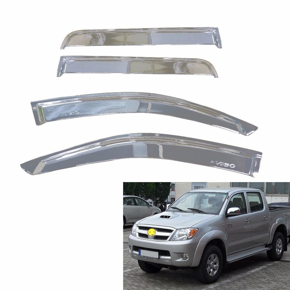/2015/Deflectores de viento Set/ Para Toyota Hilux 2005/ /Doble Cabina cromo 4/piezas