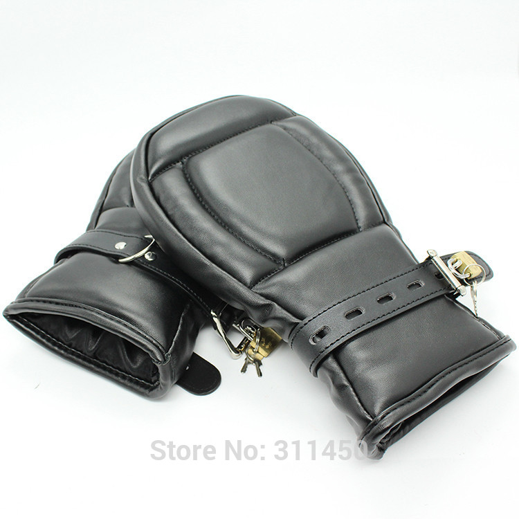 Adult Fetish Female Locking Padded Fist Mitts Role Play -4792