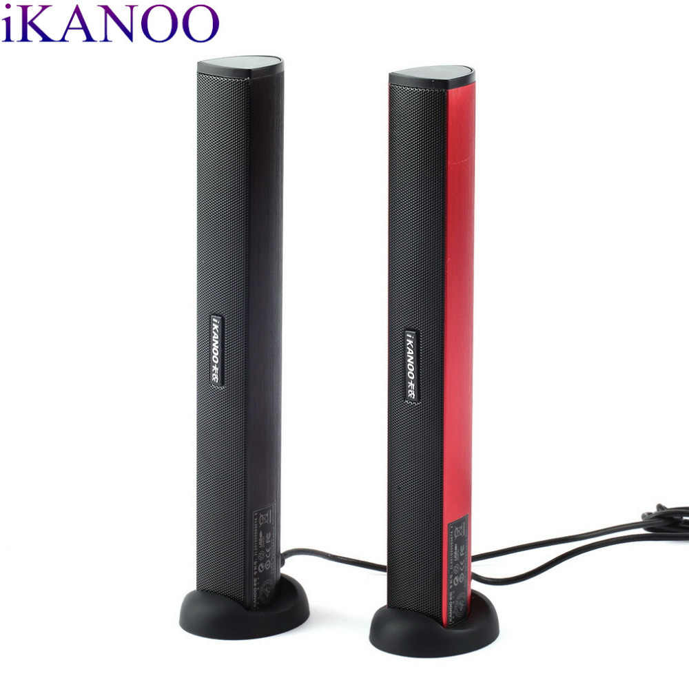 Original iKANOO USB Power Laptop PC Notebook Audio altavoz Audio estéreo amplificador barra de sonido auricular Jack con soporte