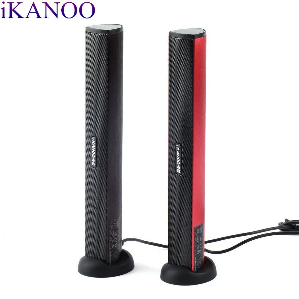Original iKANOO USB Power Laptop Computer PC Notebook Audio Speaker Audio Stereo Amplifier Soundbar Earphone Jack with Holder