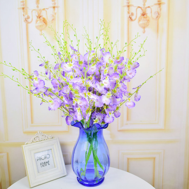 Silk butterfly orchid artificial flowers bouquet for home wedding ...