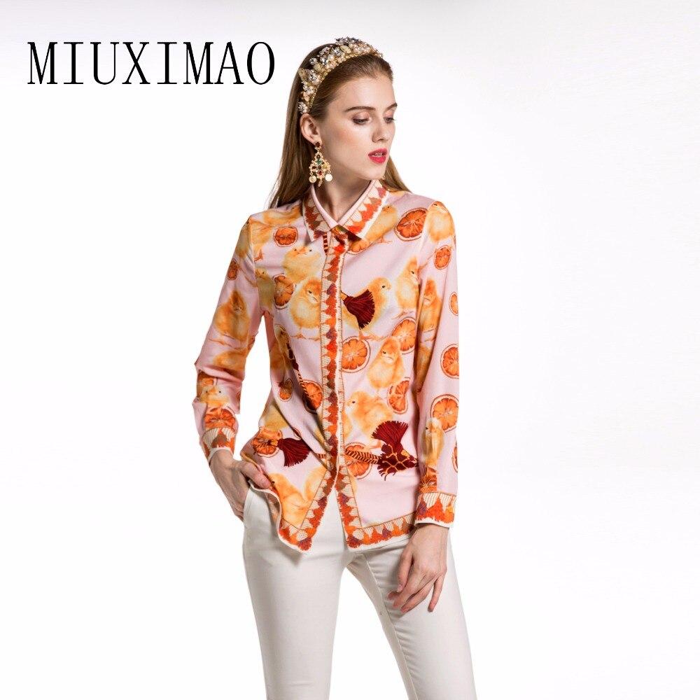 2018 automne nouveau Style décontracté mode col rabattu manches longues couvert bouton poulet motif imprimé Blouse femmes