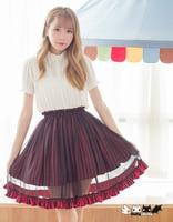 Princess sweet lolita skirt A word skirt stripe chiffon skirts stripe black and red two colour skirt Dolley 0056