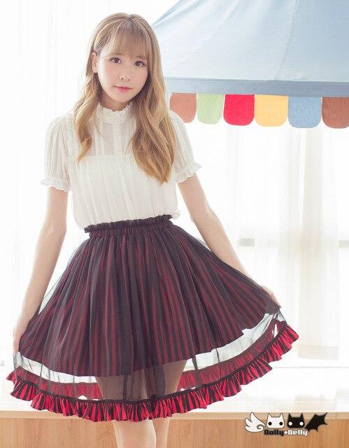 c0c0033baaa0 US $34.83 15% OFF|Prinzessin sweet lolita rock Ein wort rock streifen  chiffon röcke streifen schwarz und rot zwei farbe rock Dolley 0056 in ...
