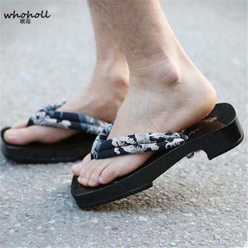 Man flip-flops 2017 Summer man Sandals Japanese Geta Clogs Shoes man Cosplay padauk wood Sandals Flat summer slippers MGET-839