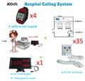 Wireless Nurse Call Bell System salud centro 1x pantalla LED K-4-C-USB + 35x botón de llamada K-W3-H 4 xWrist reloj