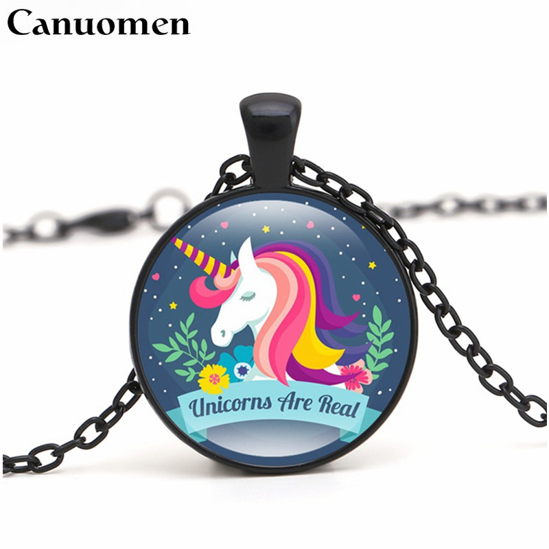 Creative Canuomen Hot Sale Unicorn Pendant Necklace Handmade Glass Cabochon Choker Gifts For Son Daughter Party Present Necklaces Jewelry