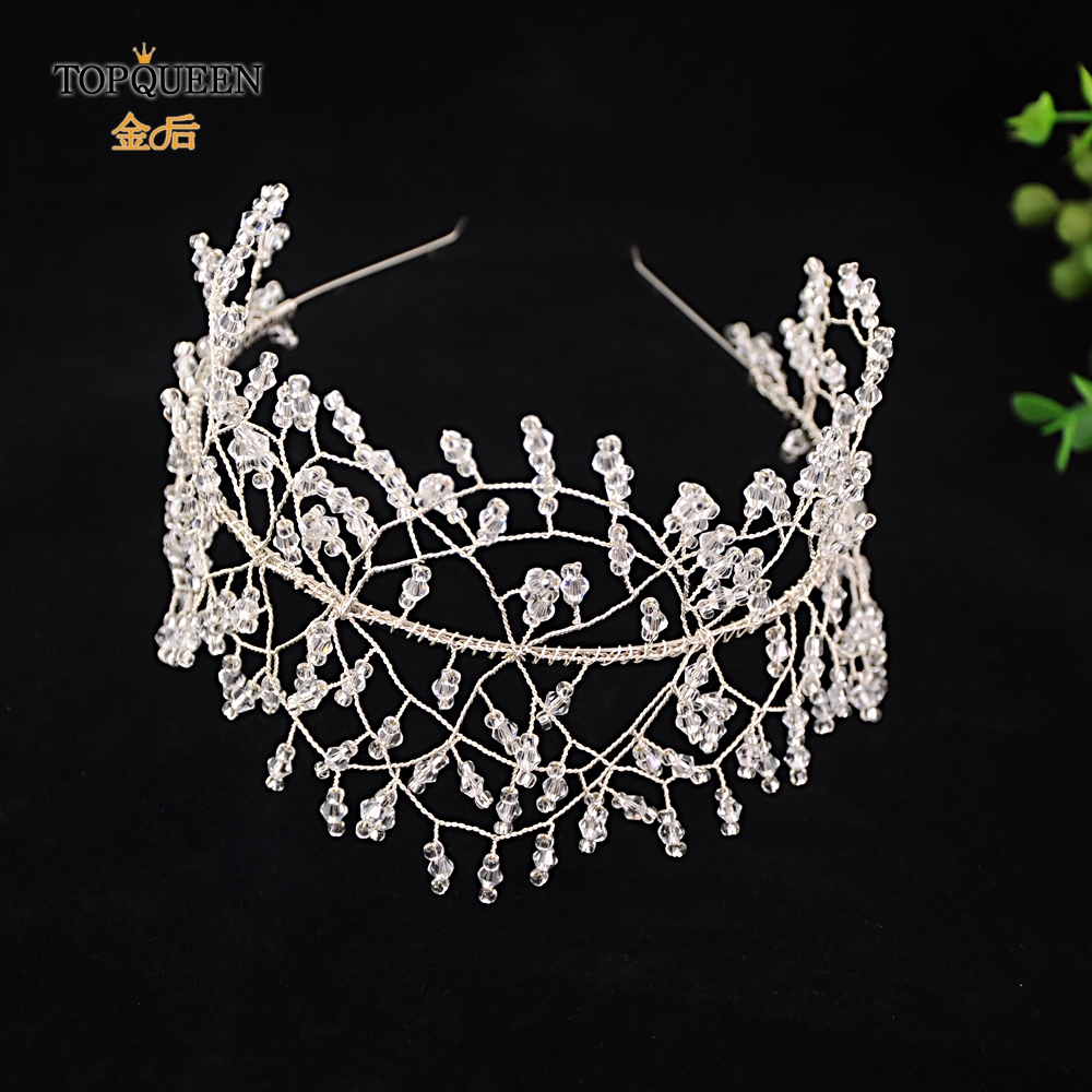 TOPQUEEN HP167-FG Luxury Crystal Bridal Headpieces Handmade Bridal Tiara Wedding Hair Jewelry Headband Accessories Women Crowns