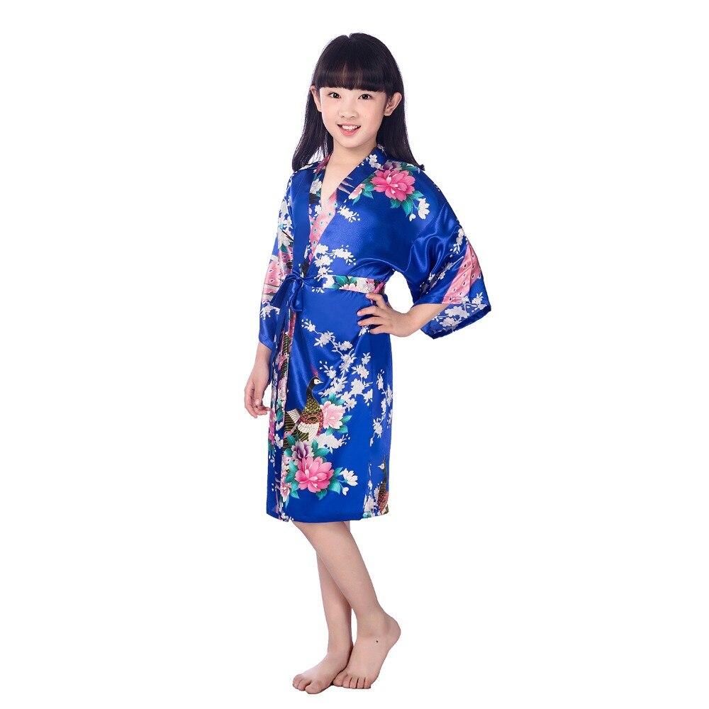Silk Kid Flower Girl Robe Kimono Bridesmaid Girls Robes Dress Children Bathrobe