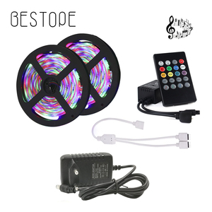 Led Strip 5M 10M 15M 2835 5050 Led Strip Light waterproof diode tape music led ribbon with controller and power adapter