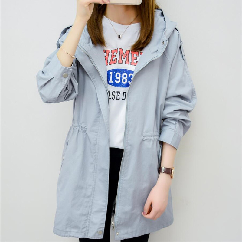 2019 New Spring Autumn   Trench   Coat For Women Casual Long Overcoat Loose Windbreaker Female Hooded Solid Coat Outerwear Top R222