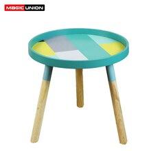 Mesa de té pequeña nórdica para sala de estar, mesa redonda de café, Mini mesa de noche, mesa de esquina de madera sólida para dormitorio Simple