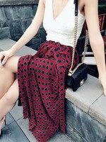 100% Silk Women Wine Polka Dot Print Maxi Wrap Skirt