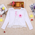 New arrivals girls cardigan coats hollow out lace flower cotton polyester long-sleeve shrug spring summer kids clothing KC-1608