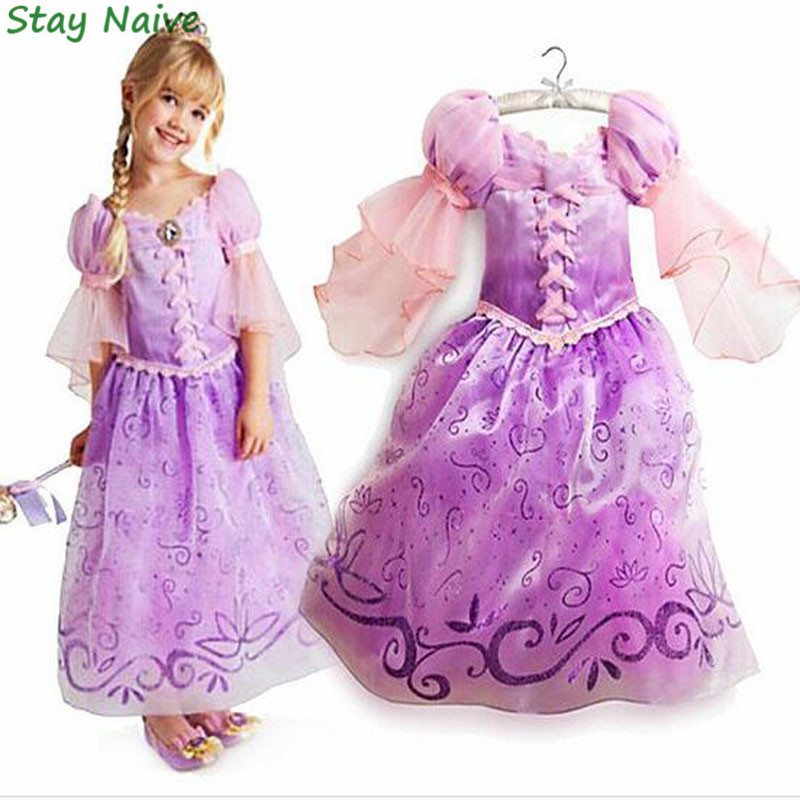 Fantasia Vestidos,2017 Children Kids Cosplay Dresses Rapunzel Costume Princess Wear Perform Clothes HOT Sale free shipping hot sale halloween cosplay costume for women snow white princess black wigs free shipping
