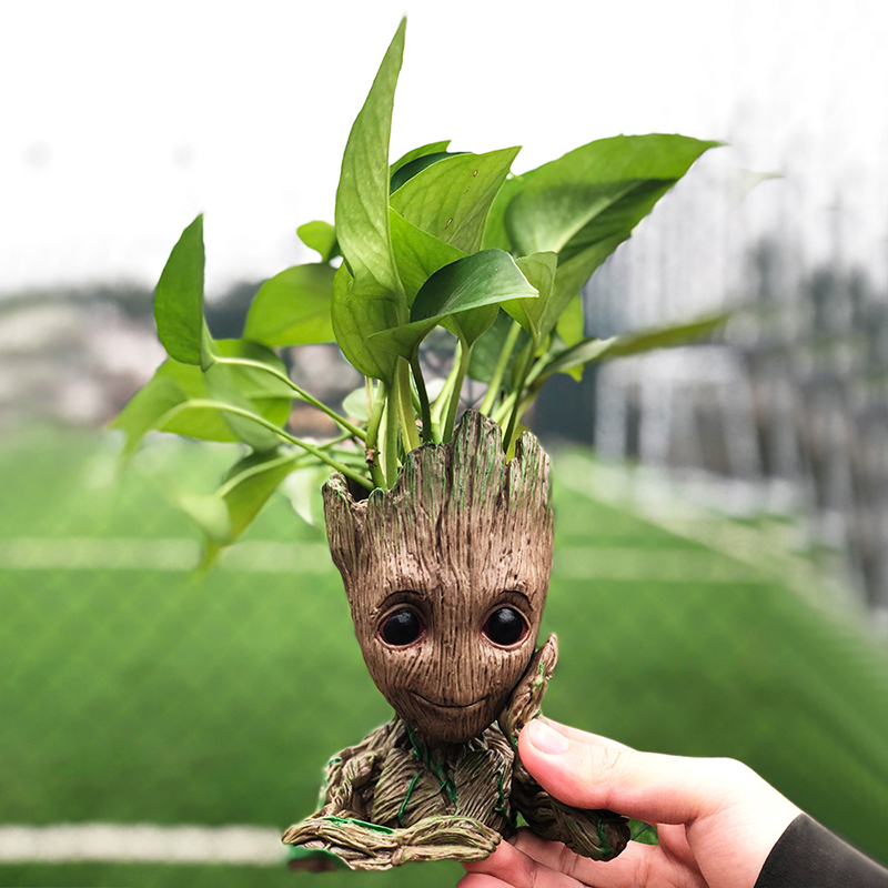 Drop shipping Flowerpot Baby Action Figures Cute Model Kawaii Twig Guardians Vessel Antistress Tree Men Resin Pot Skull Flower