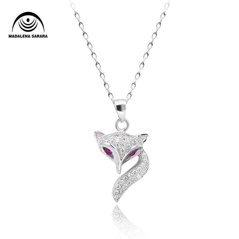 MADALENA SARARA AAAA CZ S925 sterling silver necklace female Korean Fox Style Chain necklace pink drill clavicle chain in Chain Necklaces from Jewelry Accessories