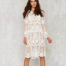 17aae75515a38 Maxi Kadın Beyaz Sonbahar Dantel Elbise Uzun Kollu Seksi See Through Çiçek  Vestido 2019 Yaz Plaj Beyaz Siyah Elbiseler WF811