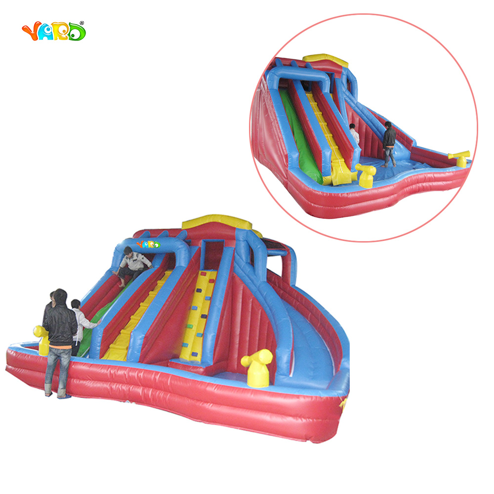 Promotional Inflatable Dual Lane Water Slide with Pool for Fun Park