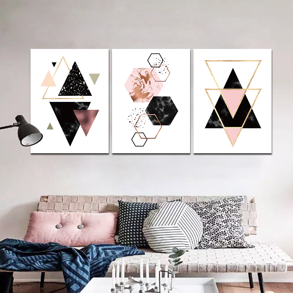 Unframed HD 3 Poster Simple Simple Geometric Series Art Painting Triangular Decorative Living Room Mural Canvas Painting