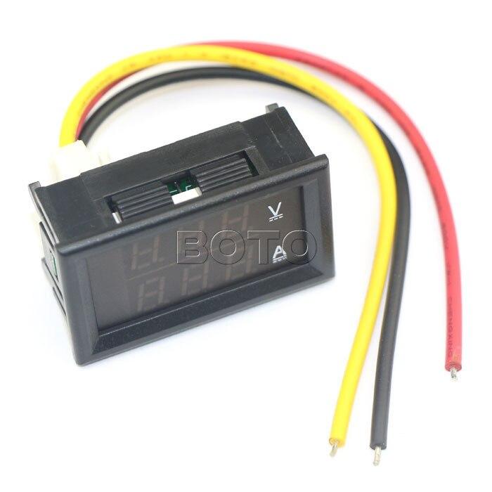 YB27VA DC 4.5 30V/2A 3 Wires Voltmeter Ammeter Red LED 2in1 display ...