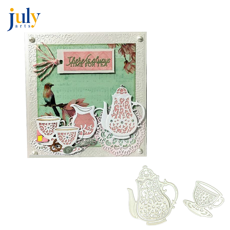 Teapot lace border Metal Cutting Dies for Scrapbooking DIY Etched