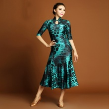green leopard Standard Ballroom Dance Dress Women Improved cheongsam backlessWaltz/Tango Dance Dress for Performance/Practice