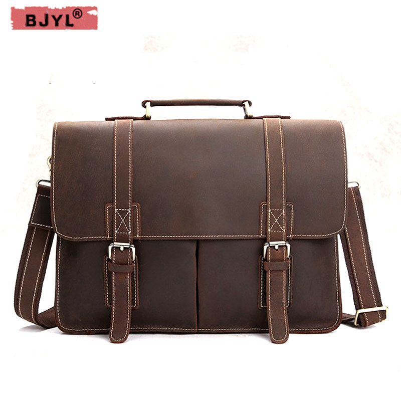 BJYL Retro Crazy Horse leather Men handbag shoulder bag leisure briefcase first layer of leather business computer laptop bagBJYL Retro Crazy Horse leather Men handbag shoulder bag leisure briefcase first layer of leather business computer laptop bag