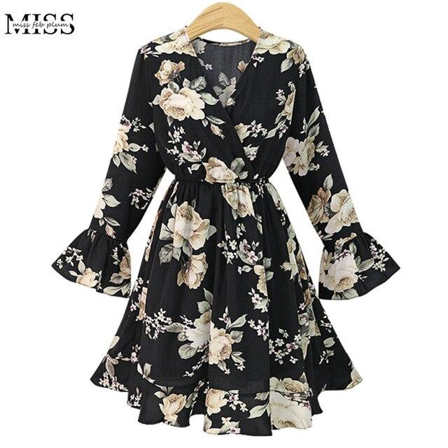 Missfebplum Plus Size Women Dresses 5xl V Neck Flare Sleeve Spring