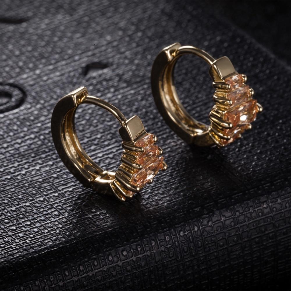 1 Pair Vintage Huggie Hoop Earring for Women Gold-color Earing Crystal Cubic Zirconia Wedding Jewelry