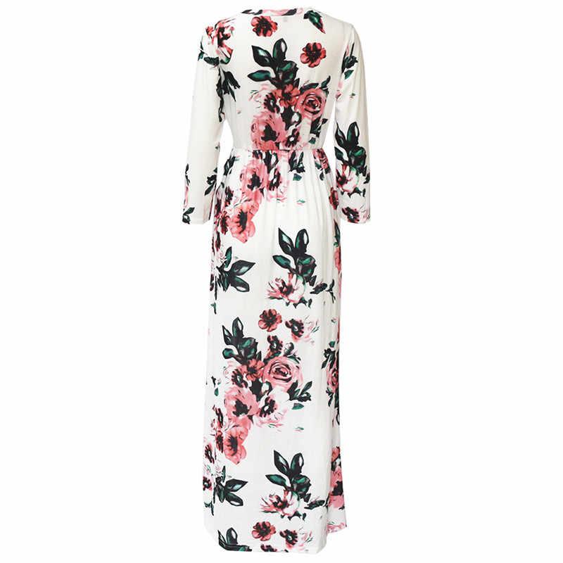 a0a29aa23aa ... 2019 Summer Long Dress Floral Print Boho Beach Dress Tunic Maxi Dress  Women Evening Party Dress