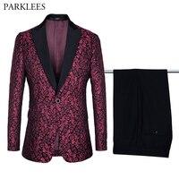 Brand Wine Red Paisley Jacquard Suit&Blazer Men One Button Peaked Lapel 2 Piece Suit (Jacket+Pants) Mens Groom Suit for Wedding