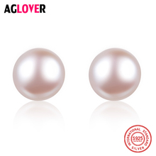 цены Freshwater Pearl Stud Earring Clear Round 8mm White Pearl Jewelry 925 Sterling Silver Women Stud Earrings