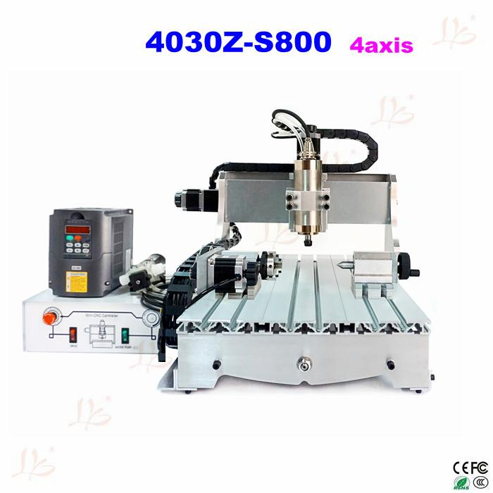 4030Z-S800 4axis CNC Router price with 800W water cooling spindle new 2015 good price 4 axis cnc router