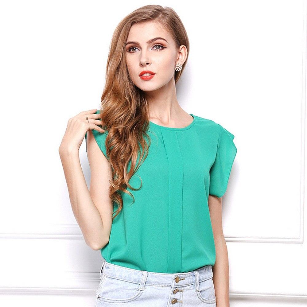 Desain t shirt elegan - Toko Online Desain Baru Chiffon T Shirt Womens 2017 Musim Panas Elegan Wanita Teeshirts Tshirts Lengan Pendek Tees Padat Fashion Wanita Kasual Aliexpress
