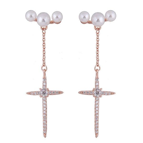292adf7bc277 Moda mujeres perla aretes largos pendientes ZIRCON Cruz pendientes para los  hombres y mujeres Rock   punk estilo partido joyería en Pendientes de la  gota de ...