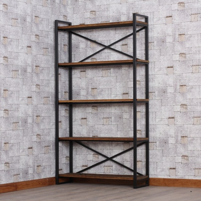 Loft American Vintage Wrought Iron Wood Bookcase Shelves