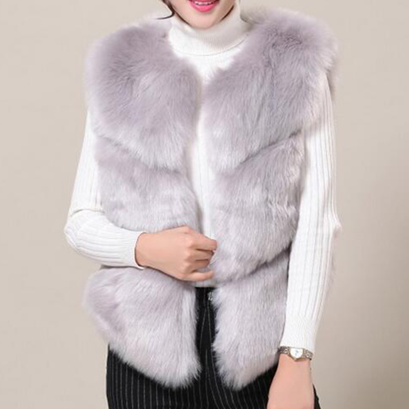 pink khaki White Court Chaud hongzuo Manteau Pele white dark Haute Imitation 038 Outwear Veste gray Fausse Colete D'hiver Fourrure Femmes De Gilet Coffe En blue wine black Épais rose Gray UvF4xU